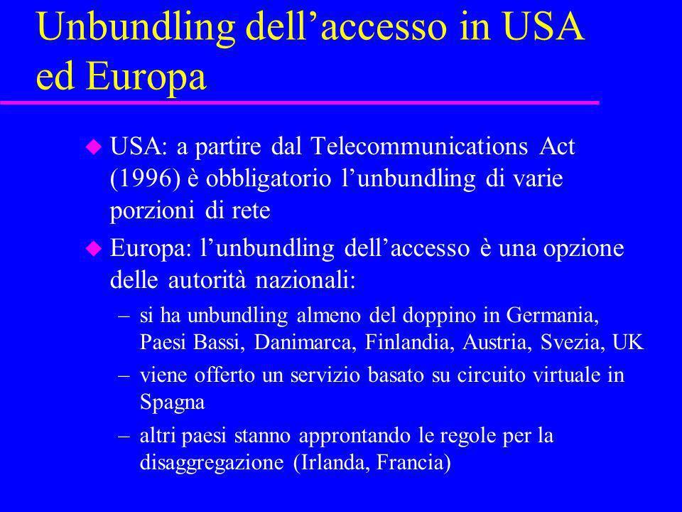 Unbundling dellaccesso in USA ed Europa u USA: a partire dal Telecommunications Act (1996) è obbligatorio lunbundling di varie porzioni di rete u Euro