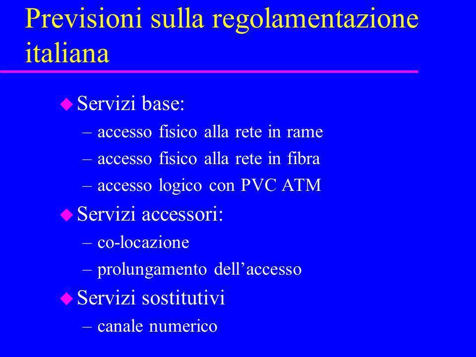 Previsioni sulla regolamentazione italiana u Servizi base: –accesso fisico alla rete in rame –accesso fisico alla rete in fibra –accesso logico con PV