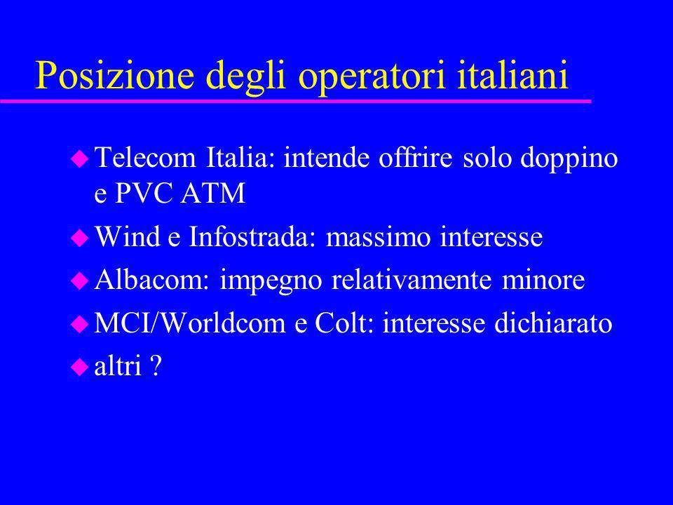 Posizione degli operatori italiani u Telecom Italia: intende offrire solo doppino e PVC ATM u Wind e Infostrada: massimo interesse u Albacom: impegno