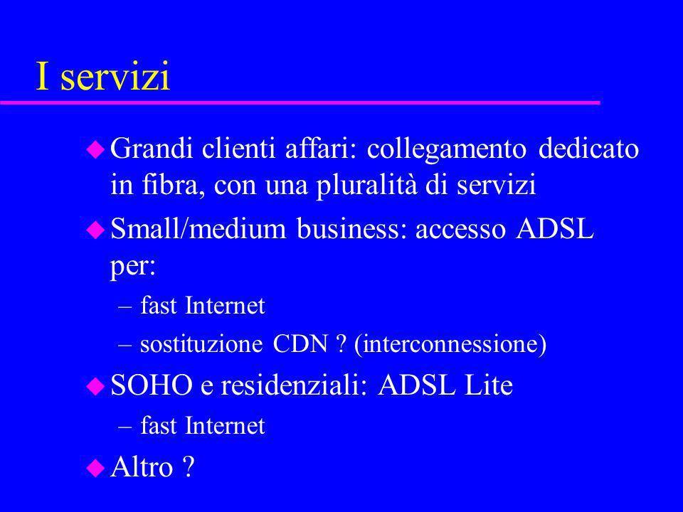 I servizi u Grandi clienti affari: collegamento dedicato in fibra, con una pluralità di servizi u Small/medium business: accesso ADSL per: –fast Inter