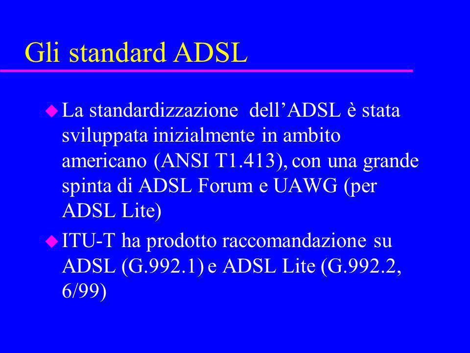Gli standard ADSL u La standardizzazione dellADSL è stata sviluppata inizialmente in ambito americano (ANSI T1.413), con una grande spinta di ADSL For