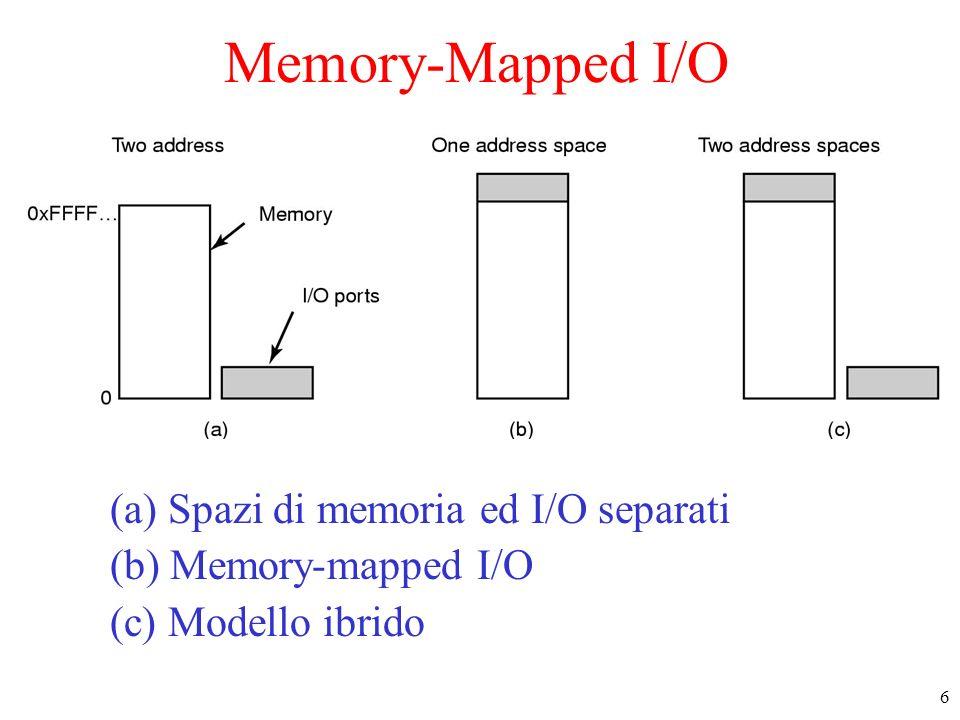 7 Accesso diretto alla memoria (DMA) Vari tipi di gestione delle interazioni con le periferiche –a controllo di programma : il processore esegue personalmente tutti i trasferimenti dalla RAM alle periferiche e viceversa –in DMA (Direct Memory Access) linterfaccia può accedere direttamente alla RAM possibilità di trasferire dati mentre il processore elabora la periferica avverte quando ha finito con una interruzione
