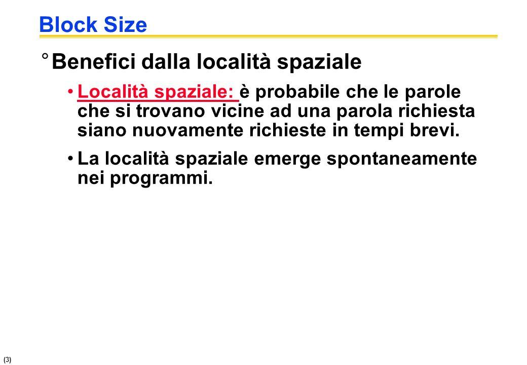 (3) Block Size °Benefici dalla località spaziale Località spaziale: è probabile che le parole che si trovano vicine ad una parola richiesta siano nuov