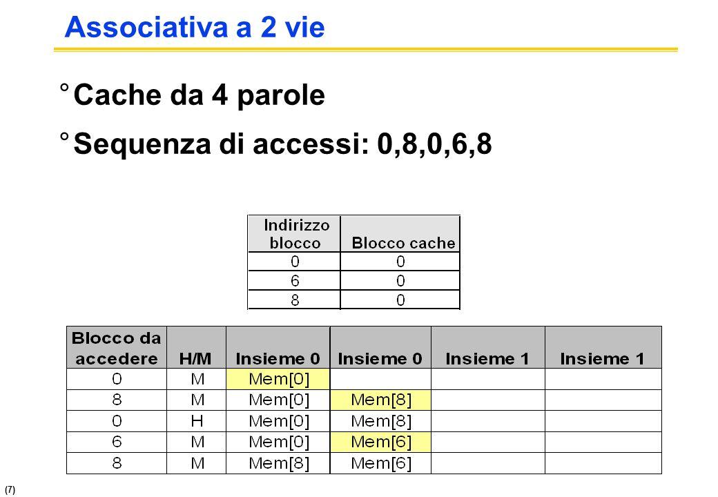 (7) Associativa a 2 vie °Cache da 4 parole °Sequenza di accessi: 0,8,0,6,8