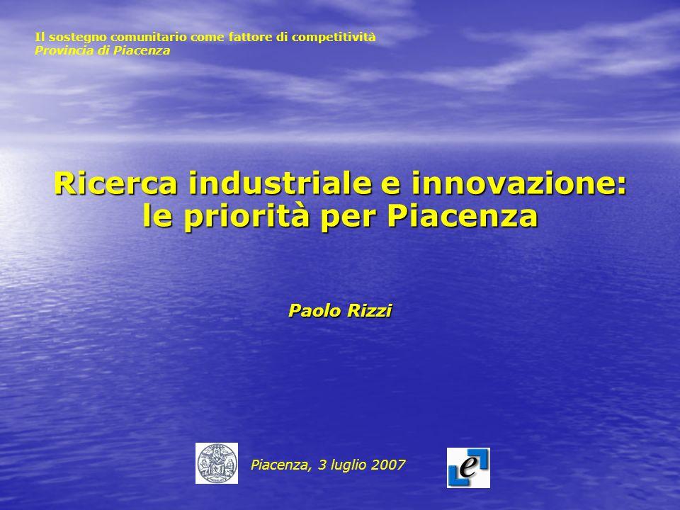 Ricerca industriale e innovazione: le priorità per Piacenza Paolo Rizzi Piacenza, 3 luglio 2007 Il sostegno comunitario come fattore di competitività Provincia di Piacenza