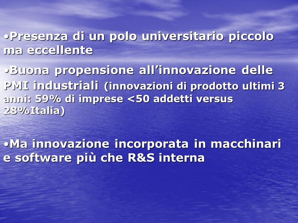 Presenza di un polo universitario piccolo ma eccellentePresenza di un polo universitario piccolo ma eccellente Buona propensione allinnovazione delle PMI industriali (innovazioni di prodotto ultimi 3 anni: 59% di imprese <50 addetti versus 28%Italia)Buona propensione allinnovazione delle PMI industriali (innovazioni di prodotto ultimi 3 anni: 59% di imprese <50 addetti versus 28%Italia) Ma innovazione incorporata in macchinari e software più che R&S internaMa innovazione incorporata in macchinari e software più che R&S interna