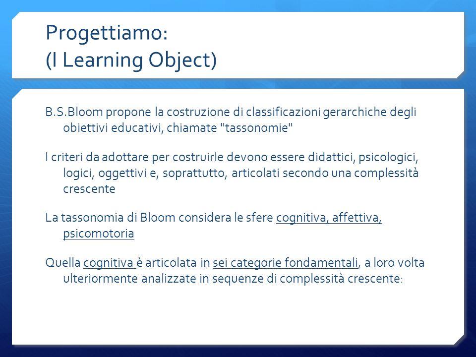 Progettiamo: (I Learning Object) B.S.Bloom propone la costruzione di classificazioni gerarchiche degli obiettivi educativi, chiamate