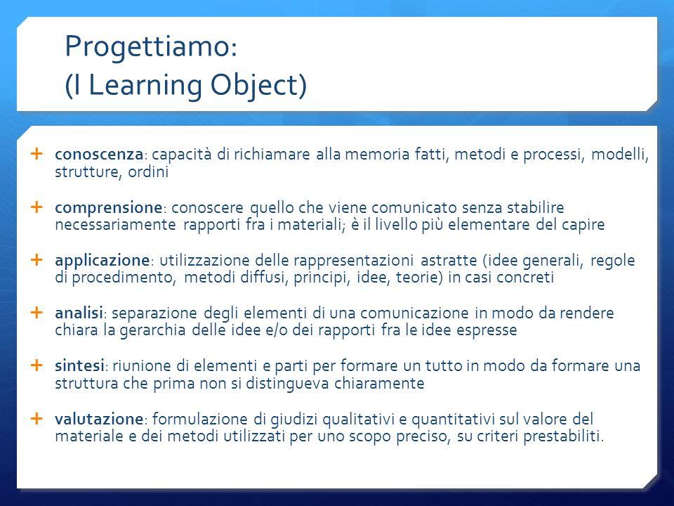 Progettiamo: (I Learning Object) conoscenza: capacità di richiamare alla memoria fatti, metodi e processi, modelli, strutture, ordini comprensione: co