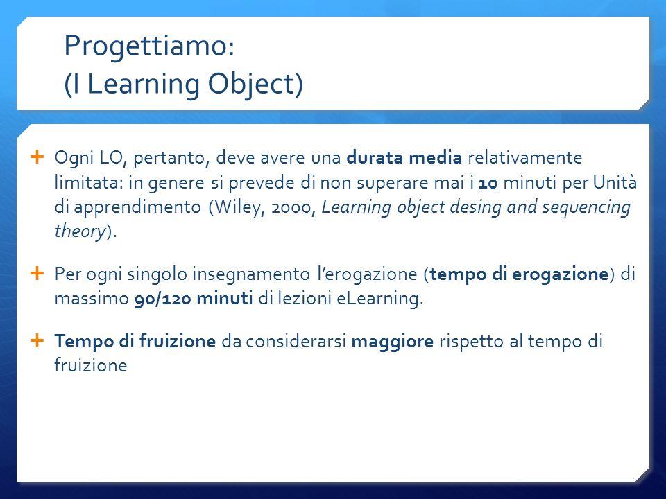 Progettiamo: (I Learning Object) Ogni LO, pertanto, deve avere una durata media relativamente limitata: in genere si prevede di non superare mai i 10