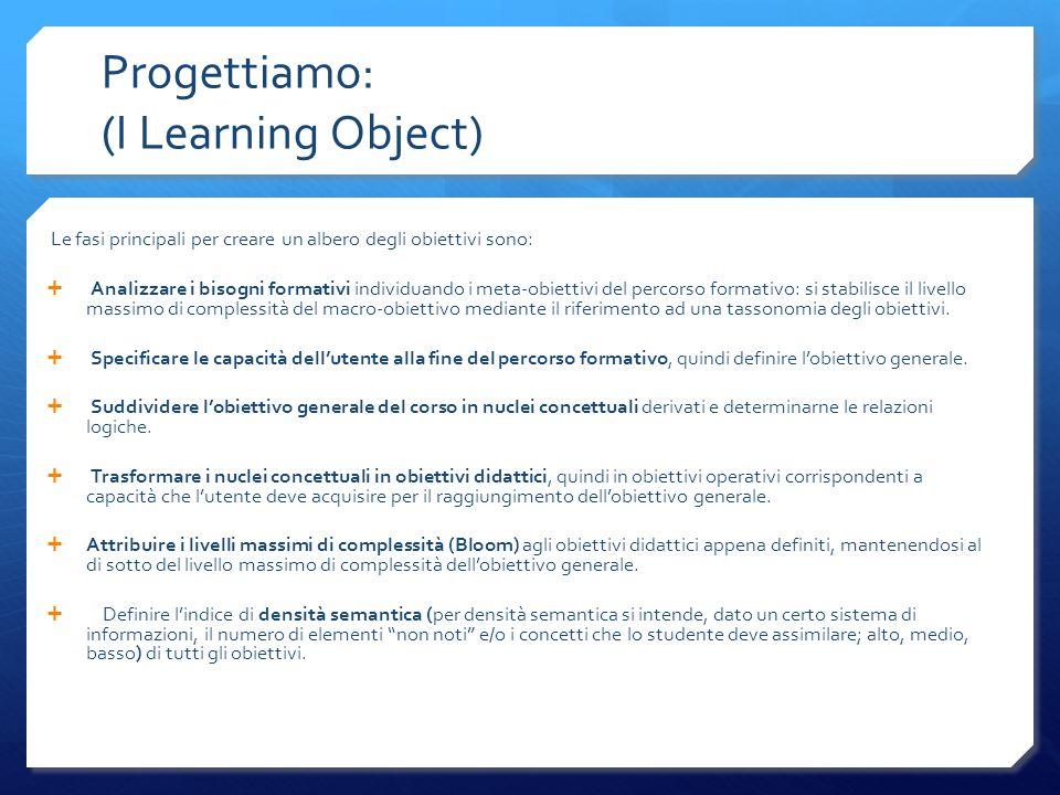Progettiamo: (I Learning Object) Le fasi principali per creare un albero degli obiettivi sono: Analizzare i bisogni formativi individuando i meta-obie