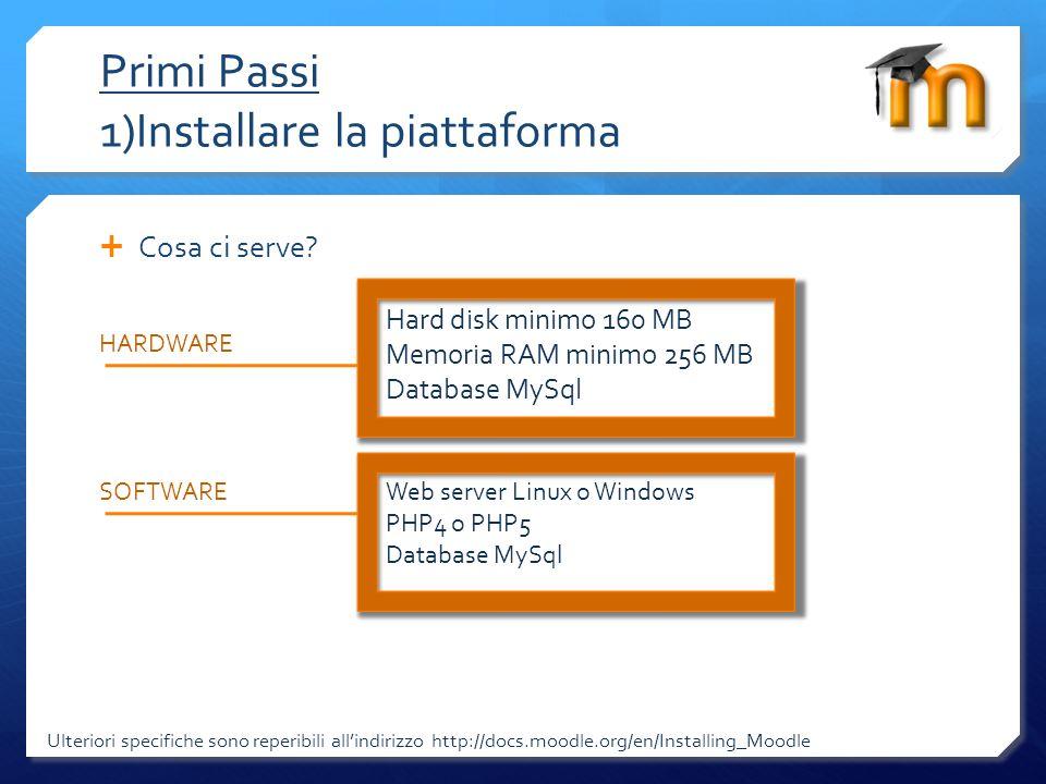 Primi Passi 1)Installare la piattaforma Ulteriori specifiche sono reperibili allindirizzo http://docs.moodle.org/en/Installing_Moodle Download Moodle (scarichiamo il software) http://download.moodle.org/ Versione 1.9 Stabile