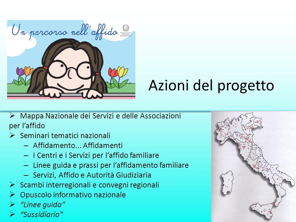 Azioni del progetto Mappa Nazionale dei Servizi e delle Associazioni per laffido Seminari tematici nazionali – Affidamento... Affidamenti – I Centri e