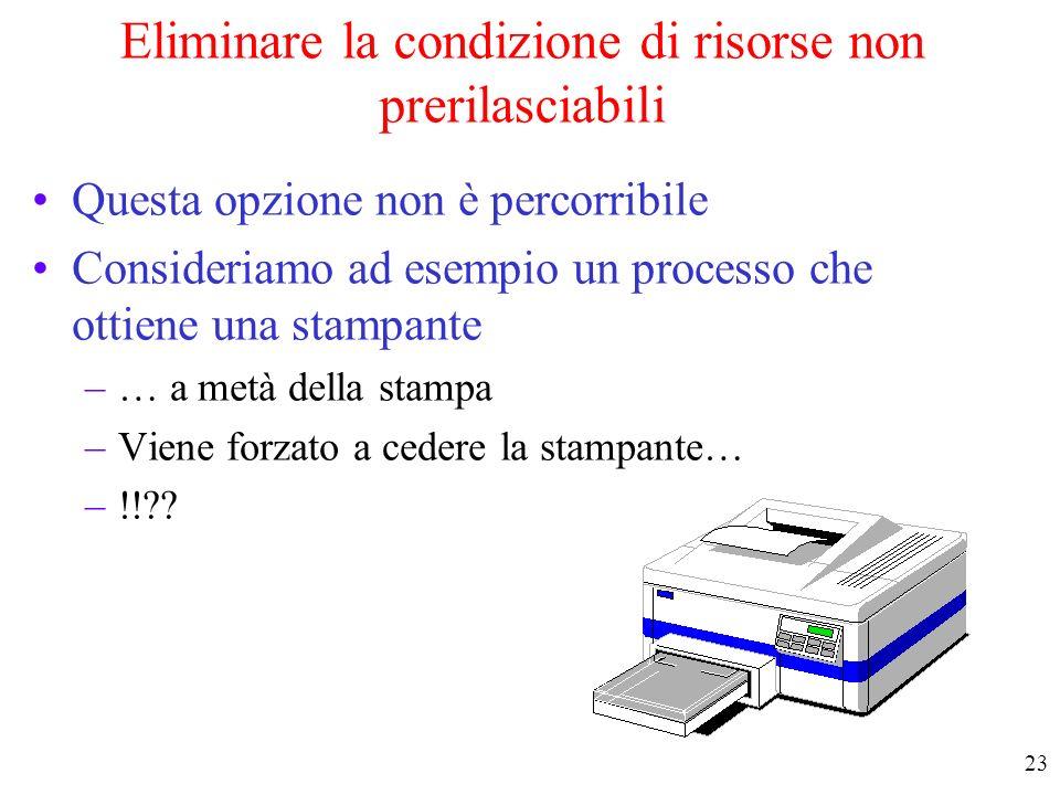 22 Prevenire lo Stallo Eliminare la condizione di risorse seriali Alcuni dispositivi (ad esempio le stampanti) possono essere gestiti con spool –I pro