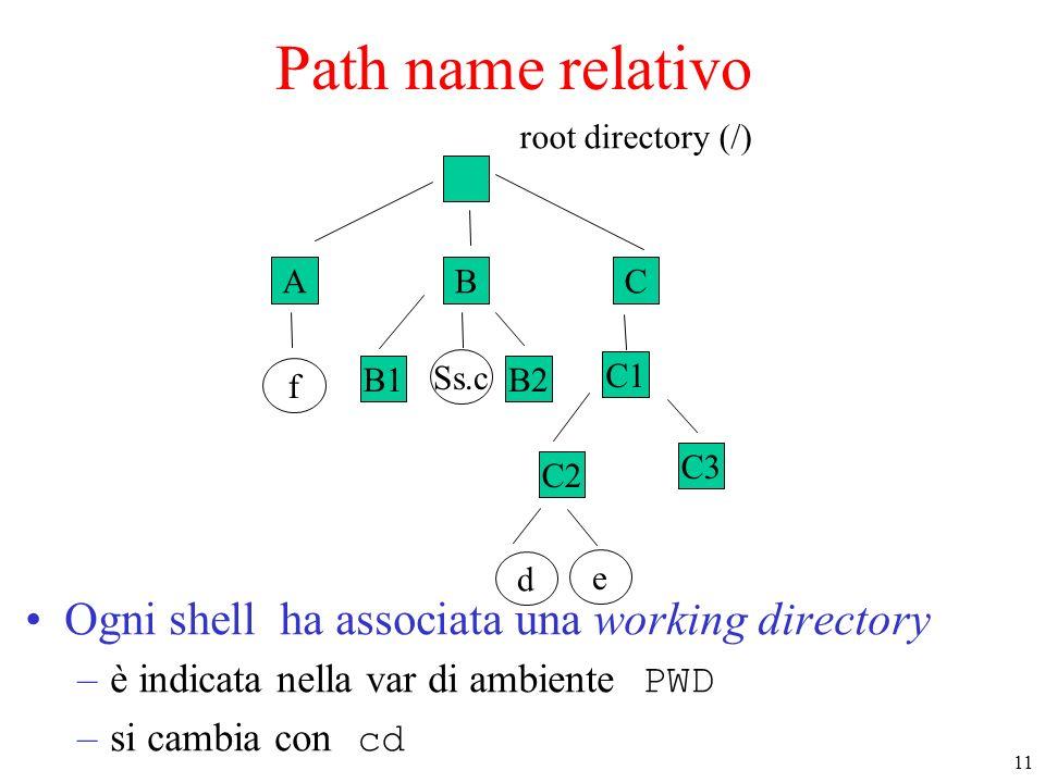 11 ABC f B1B2 Ss.c C1 C2 e d root directory (/) C3 Path name relativo Ogni shell ha associata una working directory –è indicata nella var di ambiente PWD –si cambia con cd