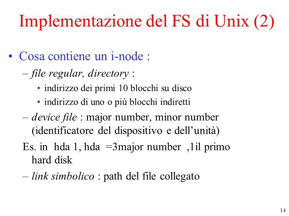 14 Implementazione del FS di Unix (2) Cosa contiene un i-node : –file regular, directory : indirizzo dei primi 10 blocchi su disco indirizzo di uno o più blocchi indiretti –device file : major number, minor number (identificatore del dispositivo e dellunità) Es.