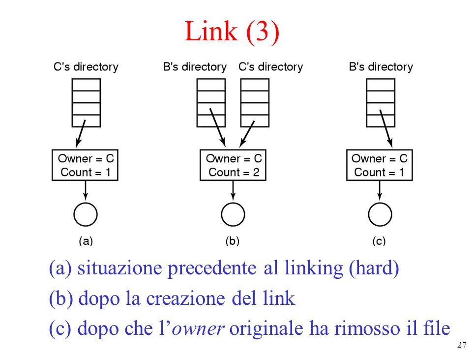 27 Link (3) (a) situazione precedente al linking (hard) (b) dopo la creazione del link (c) dopo che lowner originale ha rimosso il file