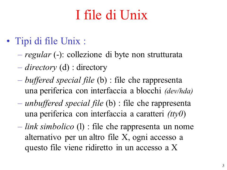 3 I file di Unix Tipi di file Unix : –regular (-): collezione di byte non strutturata –directory (d) : directory –buffered special file (b) : file che rappresenta una periferica con interfaccia a blocchi (dev/hda) –unbuffered special file (b) : file che rappresenta una periferica con interfaccia a caratteri (tty0) –link simbolico (l) : file che rappresenta un nome alternativo per un altro file X, ogni accesso a questo file viene ridiretto in un accesso a X