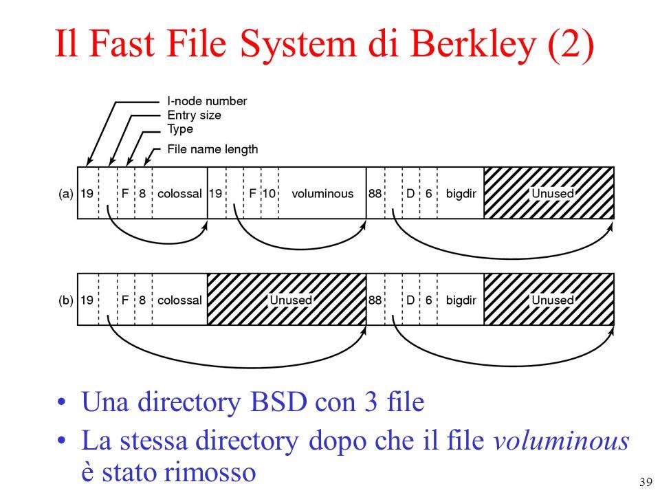 39 Il Fast File System di Berkley (2) Una directory BSD con 3 file La stessa directory dopo che il file voluminous è stato rimosso