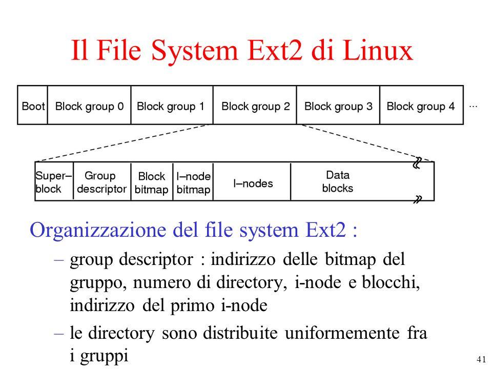 41 Il File System Ext2 di Linux Organizzazione del file system Ext2 : –group descriptor : indirizzo delle bitmap del gruppo, numero di directory, i-node e blocchi, indirizzo del primo i-node –le directory sono distribuite uniformemente fra i gruppi