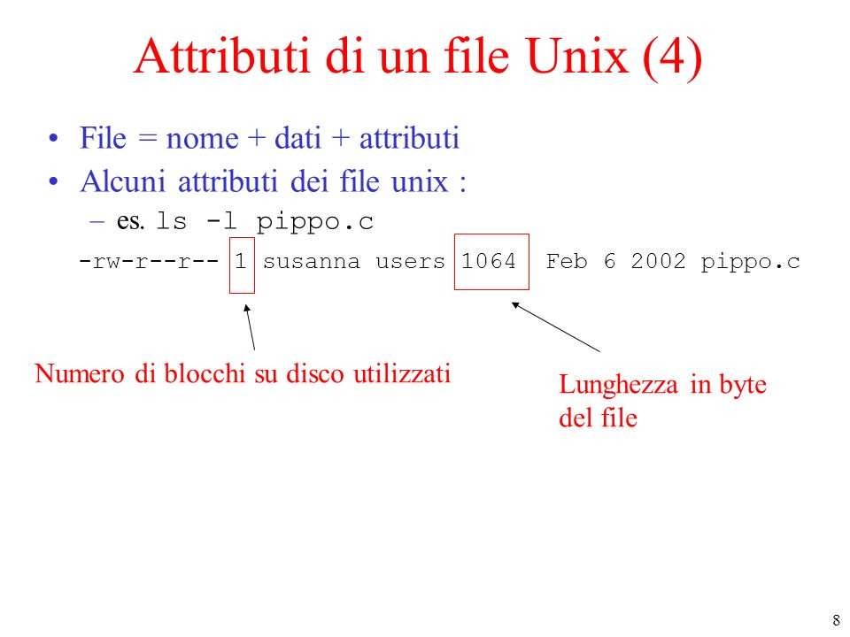 8 Attributi di un file Unix (4) File = nome + dati + attributi Alcuni attributi dei file unix : –es.