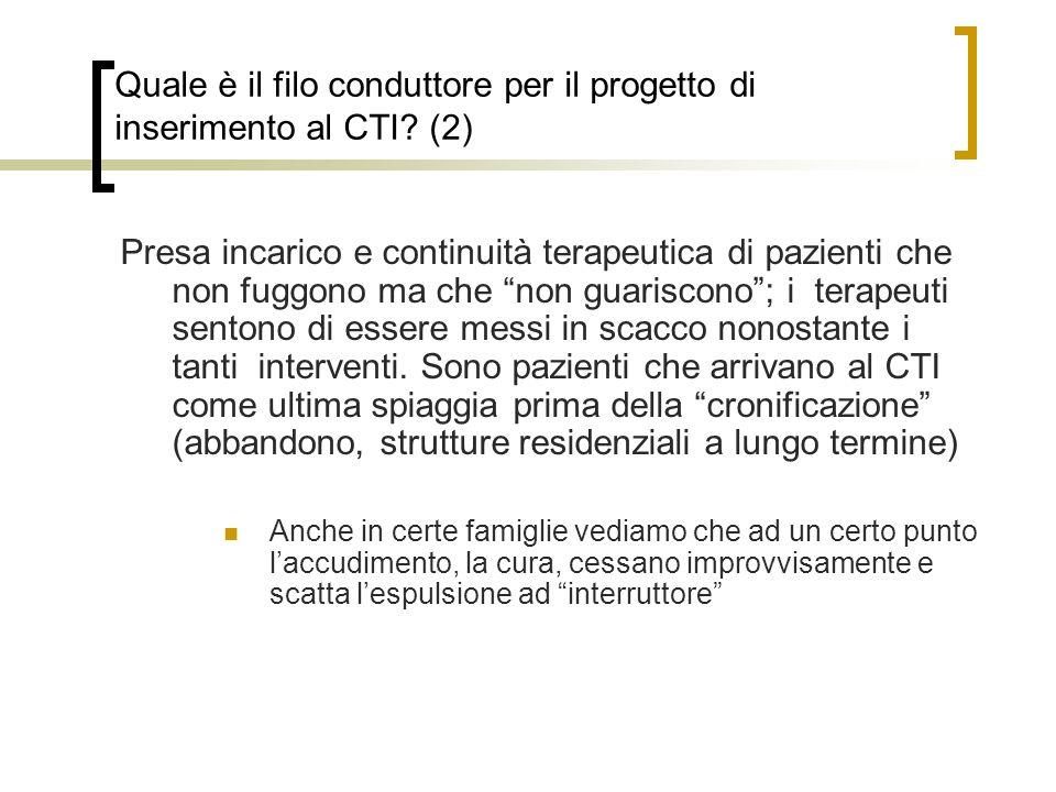 Quale è il filo conduttore per il progetto di inserimento al CTI.