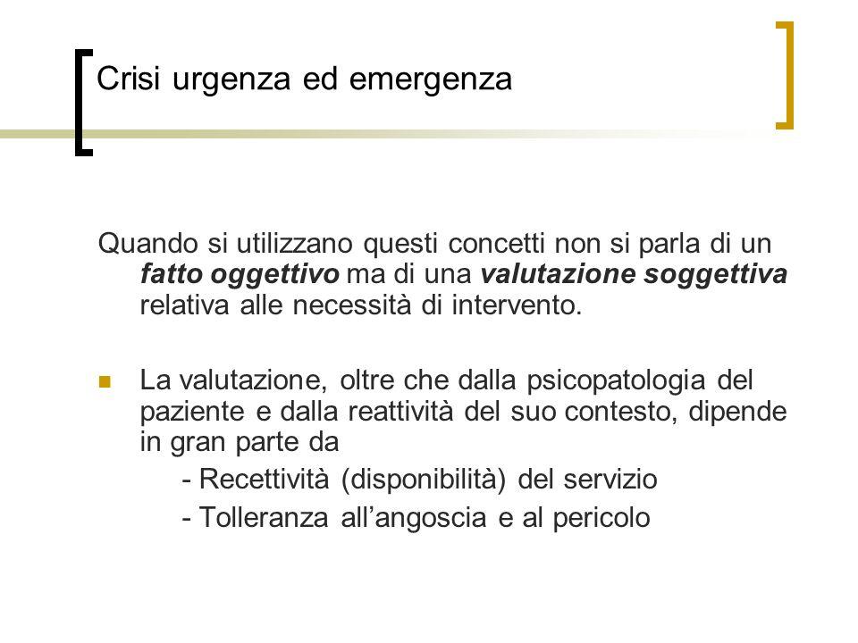 Crisi urgenza ed emergenza Quando si utilizzano questi concetti non si parla di un fatto oggettivo ma di una valutazione soggettiva relativa alle necessità di intervento.