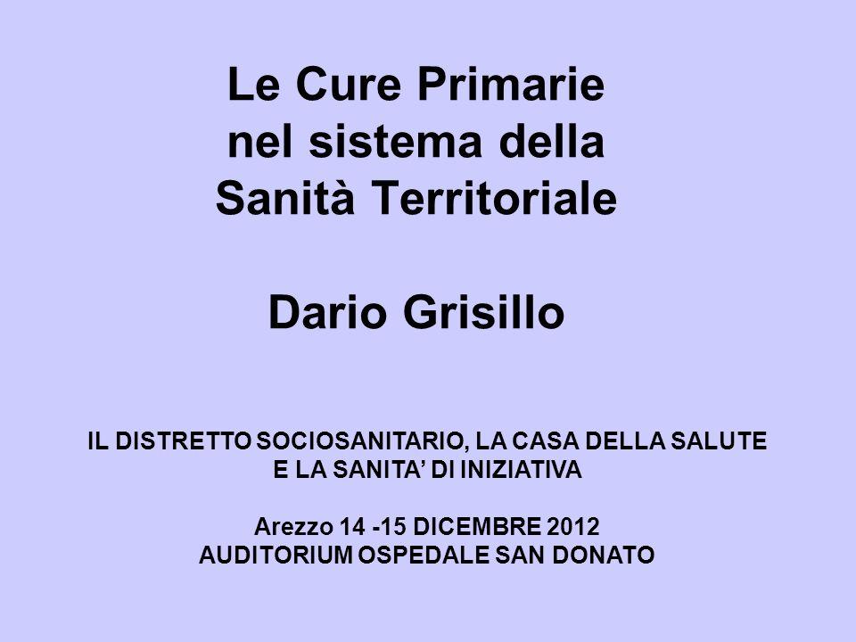 Le Cure Primarie nel sistema della Sanità Territoriale Dario Grisillo IL DISTRETTO SOCIOSANITARIO, LA CASA DELLA SALUTE E LA SANITA DI INIZIATIVA Arez