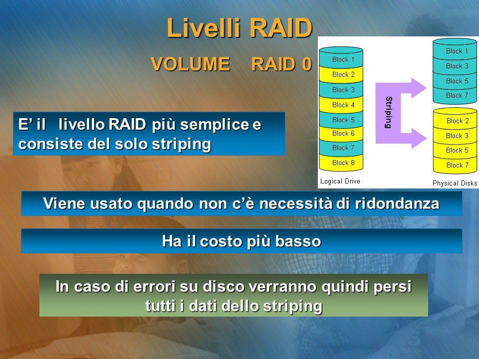 VOLUME RAID 0 E il livello RAID più semplice e consiste del solo striping Viene usato quando non cè necessità di ridondanza In caso di errori su disco