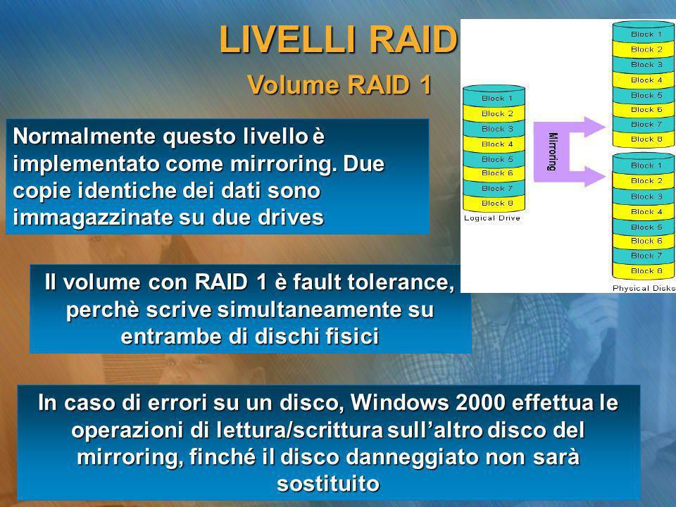 Volume RAID 1 Volume RAID 1 Normalmente questo livello è implementato come mirroring. Due copie identiche dei dati sono immagazzinate su due drives Il