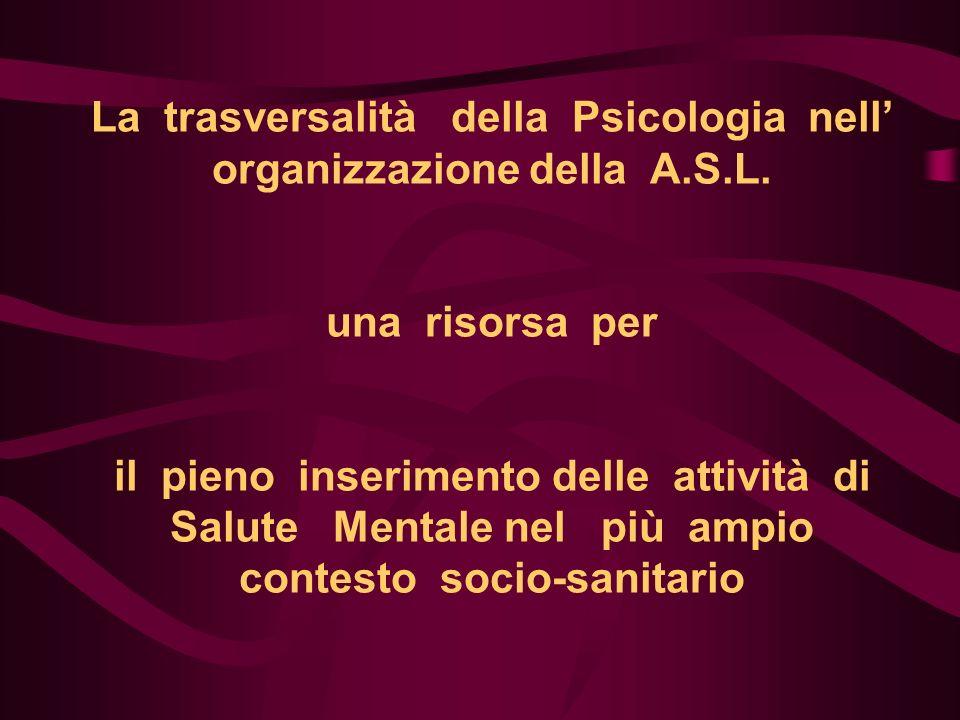 La trasversalità della Psicologia nell organizzazione della A.S.L. una risorsa per il pieno inserimento delle attività di Salute Mentale nel più ampio