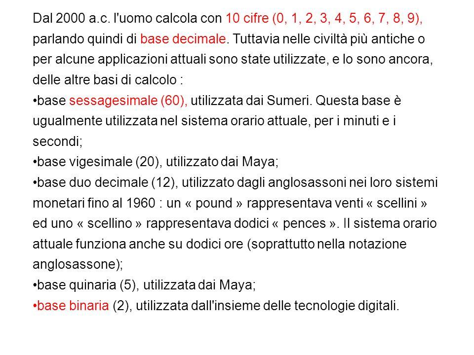 Dal 2000 a.c. l'uomo calcola con 10 cifre (0, 1, 2, 3, 4, 5, 6, 7, 8, 9), parlando quindi di base decimale. Tuttavia nelle civiltà più antiche o per a