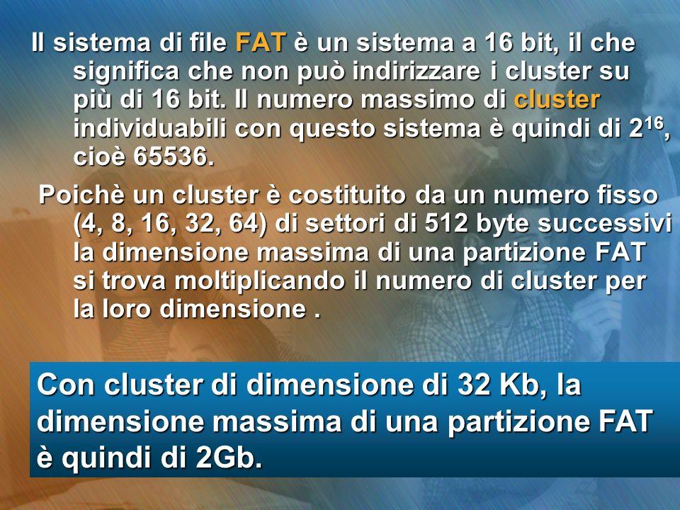Il sistema di file FAT è un sistema a 16 bit, il che significa che non può indirizzare i cluster su più di 16 bit. Il numero massimo di cluster indivi
