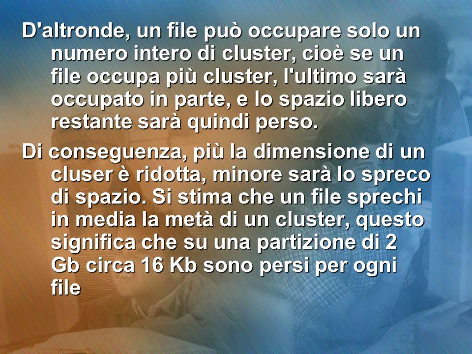 D'altronde, un file può occupare solo un numero intero di cluster, cioè se un file occupa più cluster, l'ultimo sarà occupato in parte, e lo spazio li