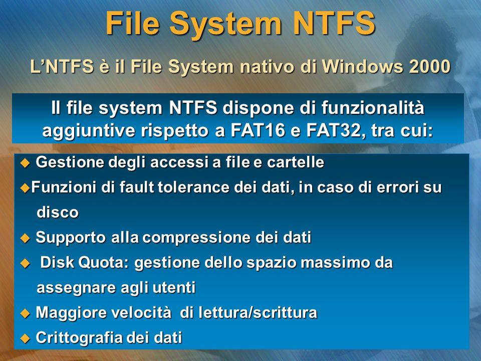 LNTFS è il File System nativo di Windows 2000 Il file system NTFS dispone di funzionalità aggiuntive rispetto a FAT16 e FAT32, tra cui: Gestione degli