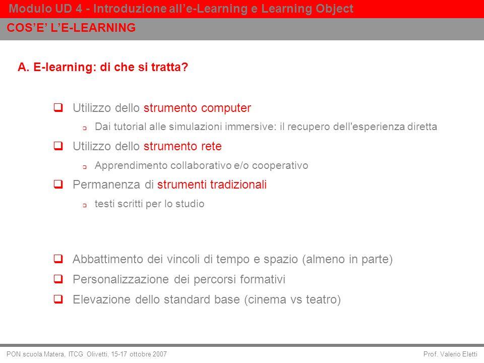 Prof. Valerio Eletti Modulo UD 4 - Introduzione alle-Learning e Learning Object PON scuola Matera, ITCG Olivetti, 15-17 ottobre 2007 A. E-learning: di