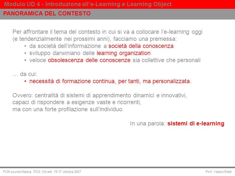 Prof. Valerio Eletti Modulo UD 4 - Introduzione alle-Learning e Learning Object PON scuola Matera, ITCG Olivetti, 15-17 ottobre 2007 Per affrontare il