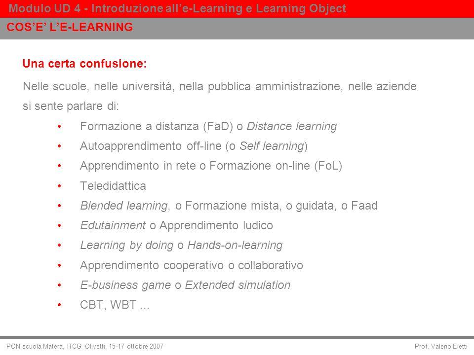 Prof. Valerio Eletti Modulo UD 4 - Introduzione alle-Learning e Learning Object PON scuola Matera, ITCG Olivetti, 15-17 ottobre 2007 Una certa confusi