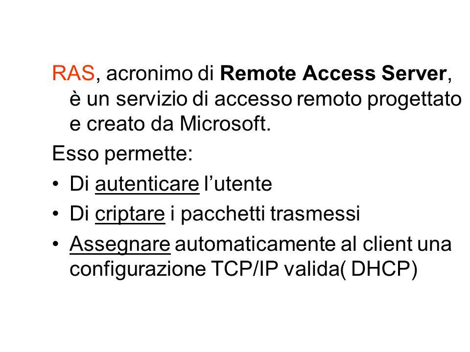 RAS, acronimo di Remote Access Server, è un servizio di accesso remoto progettato e creato da Microsoft. Esso permette: Di autenticare lutente Di crip