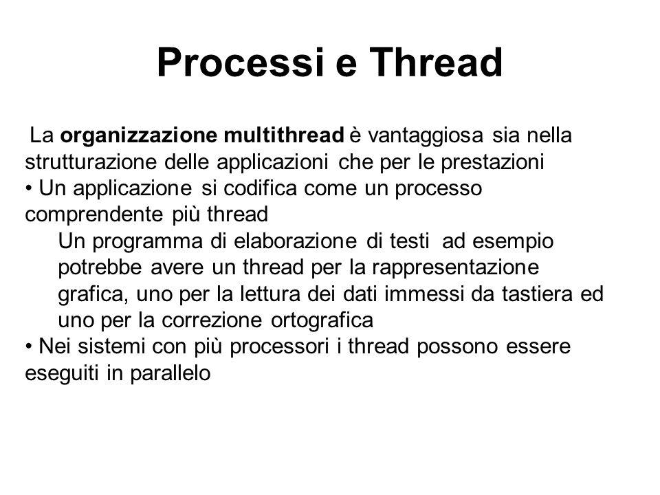 Processi e Thread La organizzazione multithread è vantaggiosa sia nella strutturazione delle applicazioni che per le prestazioni Un applicazione si co