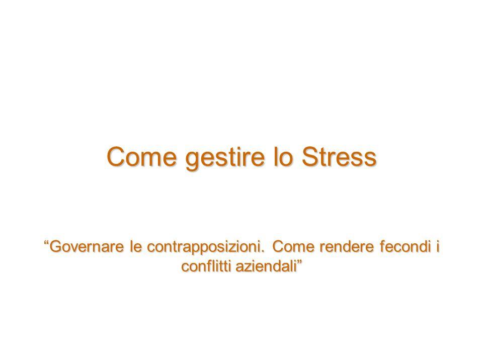 Come gestire lo Stress Governare le contrapposizioni. Come rendere fecondi i conflitti aziendali