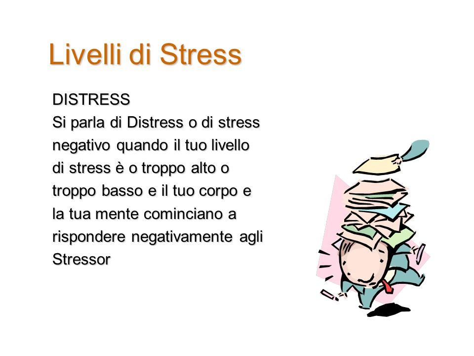 Livelli di Stress DISTRESS Si parla di Distress o di stress negativo quando il tuo livello di stress è o troppo alto o troppo basso e il tuo corpo e la tua mente cominciano a rispondere negativamente agli Stressor