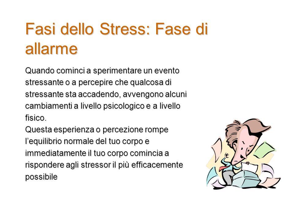 Fasi dello Stress: Fase di allarme Quando cominci a sperimentare un evento stressante o a percepire che qualcosa di stressante sta accadendo, avvengono alcuni cambiamenti a livello psicologico e a livello fisico.