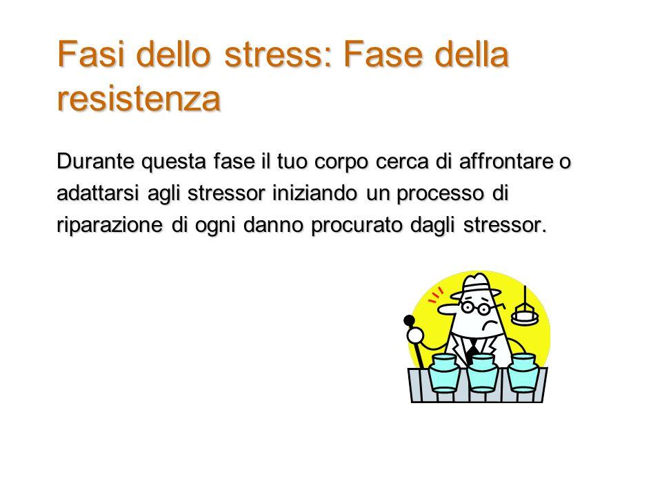 Fasi dello stress: Fase della resistenza Durante questa fase il tuo corpo cerca di affrontare o adattarsi agli stressor iniziando un processo di riparazione di ogni danno procurato dagli stressor.