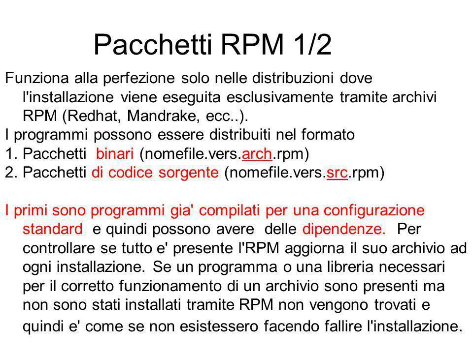 Pacchetti RPM 1/2 Funziona alla perfezione solo nelle distribuzioni dove l installazione viene eseguita esclusivamente tramite archivi RPM (Redhat, Mandrake, ecc..).