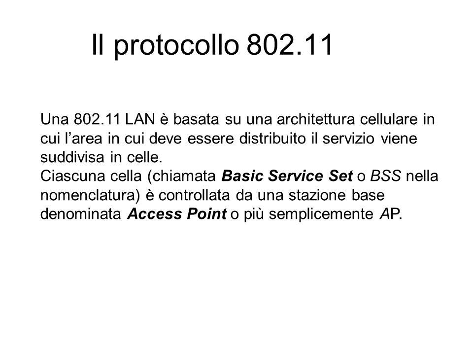 Il protocollo 802.11 Una 802.11 LAN è basata su una architettura cellulare in cui larea in cui deve essere distribuito il servizio viene suddivisa in celle.