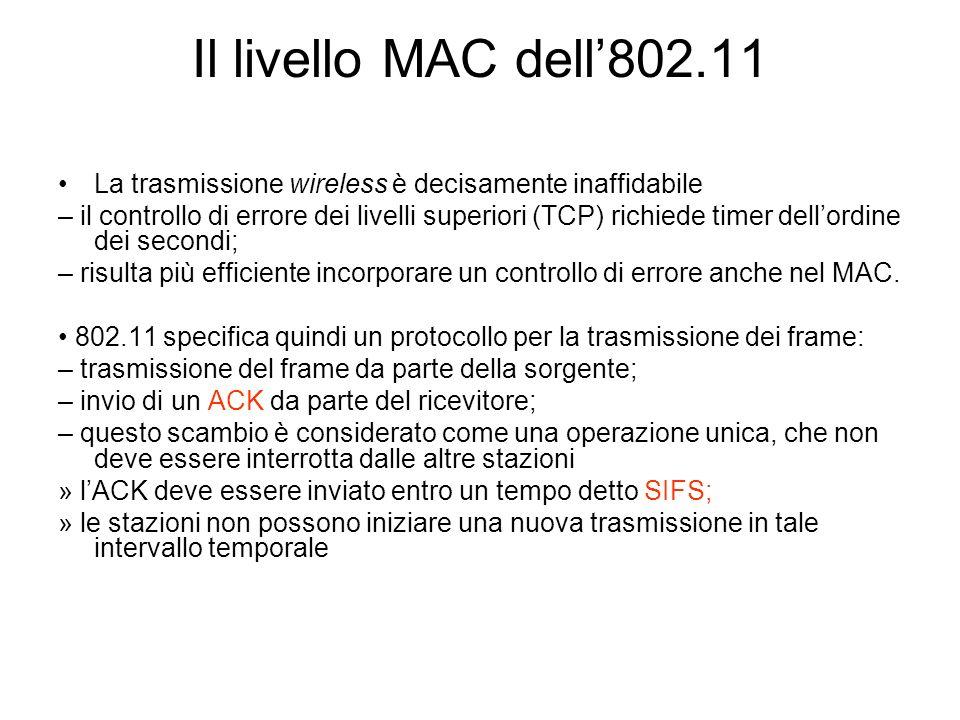 Il livello MAC dell802.11 La trasmissione wireless è decisamente inaffidabile – il controllo di errore dei livelli superiori (TCP) richiede timer dellordine dei secondi; – risulta più efficiente incorporare un controllo di errore anche nel MAC.