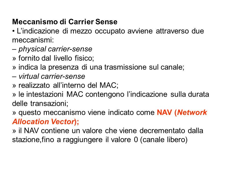 Meccanismo di Carrier Sense Lindicazione di mezzo occupato avviene attraverso due meccanismi: – physical carrier-sense » fornito dal livello fisico; »