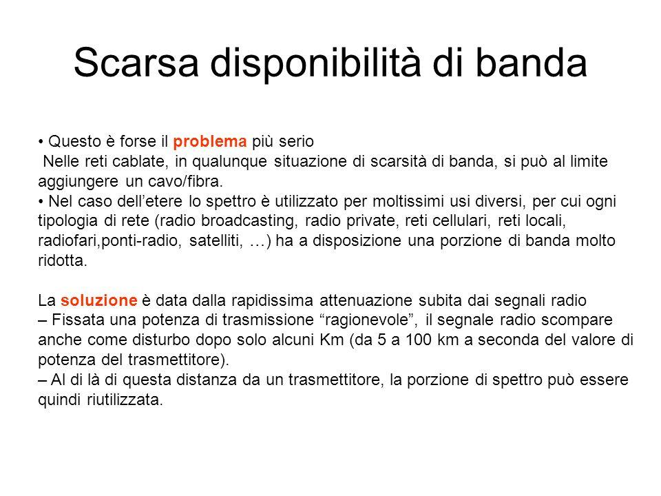Scarsa disponibilità di banda Questo è forse il problema più serio Nelle reti cablate, in qualunque situazione di scarsità di banda, si può al limite aggiungere un cavo/fibra.