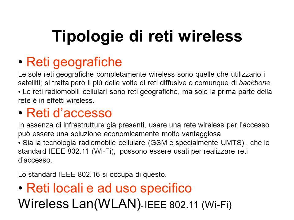 Reti geografiche Le sole reti geografiche completamente wireless sono quelle che utilizzano i satelliti; si tratta però il più delle volte di reti diffusive o comunque di backbone.
