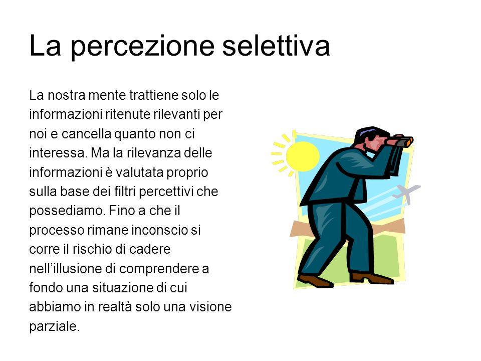 La percezione selettiva La nostra mente trattiene solo le informazioni ritenute rilevanti per noi e cancella quanto non ci interessa. Ma la rilevanza